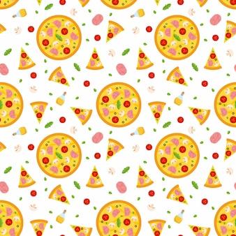 Patrón sin fisuras de pizza con rebanadas e ingredientes.