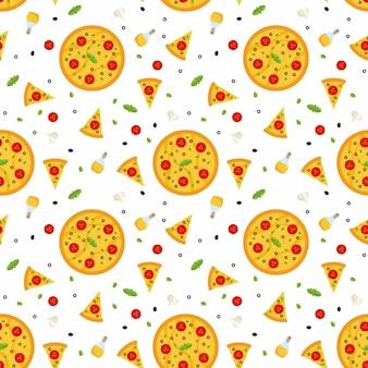 Patrón sin fisuras con pizza, con rebanadas de pizza e ingredientes.
