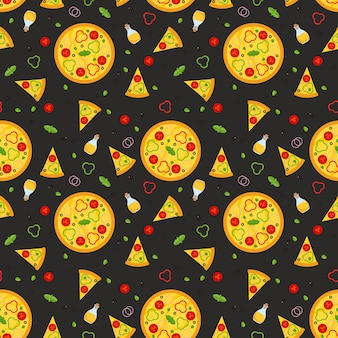Patrón sin fisuras de pizza vegetariana con rebanadas e ingredientes.