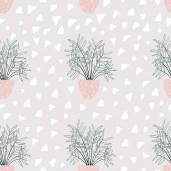 Patrón sin fisuras con plantas de interior decorativas. plantas de moda que crecen en macetas.
