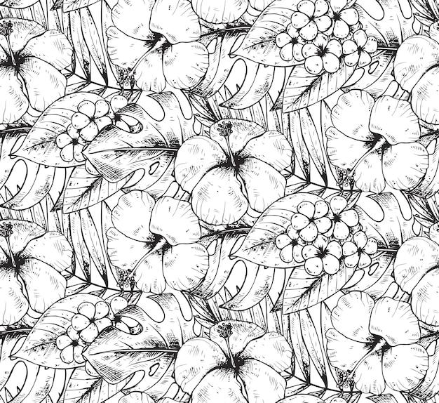 Patrón sin fisuras con plantas tropicales dibujadas a mano en blanco y negro y flores con textura de acuarela. fondo hawaiano de verano.