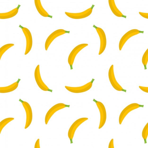 Patrón sin fisuras de plátanos amarillos sobre un fondo blanco. fruta amarilla