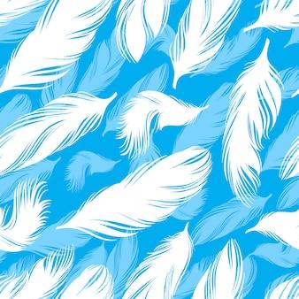 Patrón sin fisuras con plumas blancas y azules sobre fondo azul.
