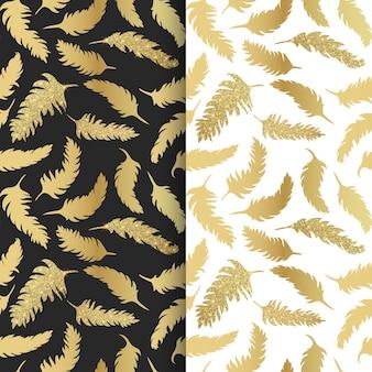 Patrón sin fisuras con plumas doradas con textura brillante, plumas de brillo.