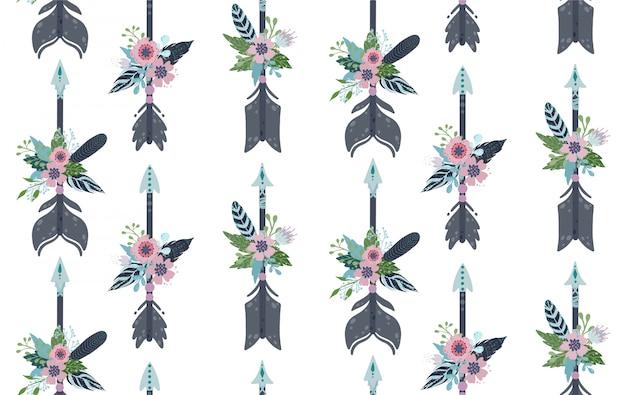 Patrón sin fisuras de plumas, flechas y flores étnicas.