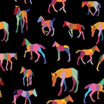 Patrón sin fisuras con potros de colores aislados sobre fondo negro. ilustración vectorial.