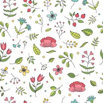 Patrón sin fisuras de primavera floral.
