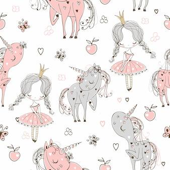 Patrón sin fisuras con princesitas y unicornios.