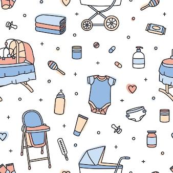 Patrón sin fisuras con productos para el cuidado infantil, artículos de guardería, juguetes. telón de fondo con herramientas para bebés recién nacidos sobre fondo blanco.