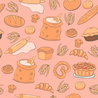Patrón sin fisuras de productos de panadería.