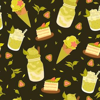 Patrón sin fisuras con productos de té verde matcha.