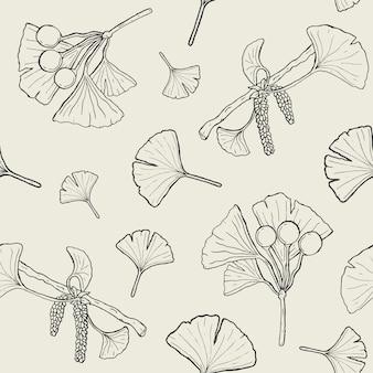 Patrón sin fisuras con ramas y hojas de ginkgo biloba, flores, bayas. fondo de plantas médicas, botánicas.