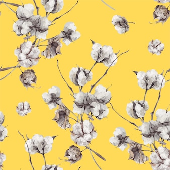 Patrón sin fisuras con ramitas y flores de algodón.