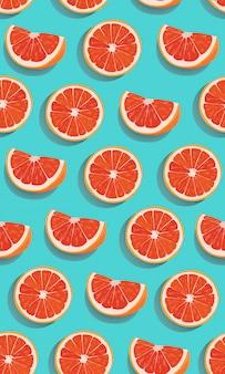 Patrón sin fisuras rebanada de frutas naranjas