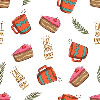 Patrón sin fisuras de rebanada de pastel y taza de café con estilo doodle