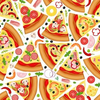 Patrón sin fisuras de rebanada de pizza