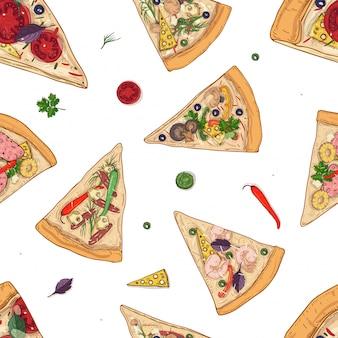 Patrón sin fisuras con rebanadas de diferentes tipos de pizza e ingredientes dispersos