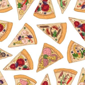 Patrón sin fisuras con rebanadas de pizza sobre fondo blanco.