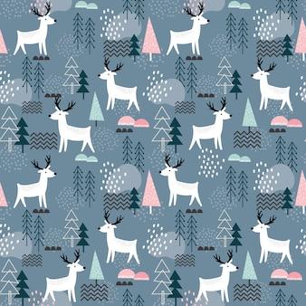 Patrón sin fisuras con renos, elementos del bosque y formas dibujadas a mano. ideal para tela, textil.