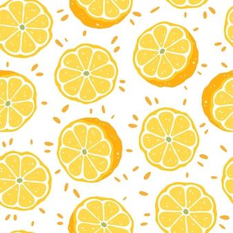 Patrón sin fisuras con rodajas de limones. ilustración vectorial