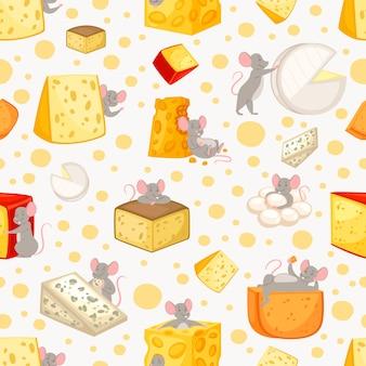 Patrón sin fisuras en rodajas de queso y ratones en dibujos animados, patrón animal lindo, comida, ilustración de estilo.