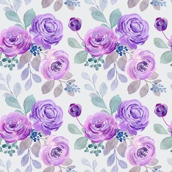 Patrón sin fisuras de rosas acuarela púrpuras