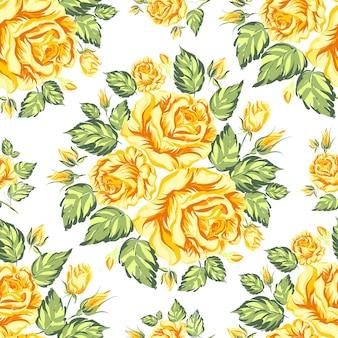 Patrón sin fisuras de rosas florecientes
