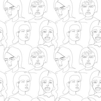 Patrón sin fisuras con rostro de mujer retrato de arte de una línea