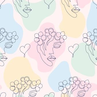 Patrón sin fisuras con rostros de mujer, corazones y formas abstractas sobre fondo claro
