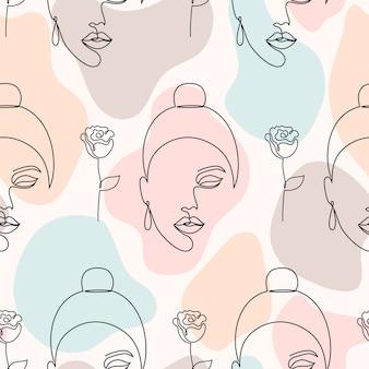 Patrón sin fisuras con rostros de mujer, rosas y formas abstractas sobre fondo claro