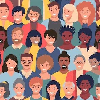Patrón sin fisuras con rostros de personas de diferentes etnias y edades.