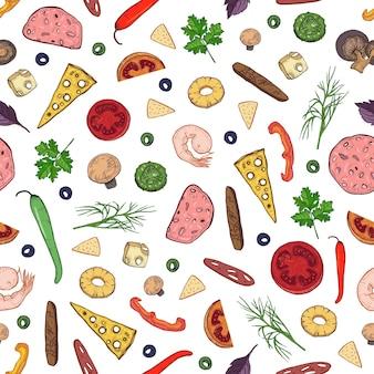Patrón sin fisuras con sabrosos ingredientes o coberturas para pizza italiana