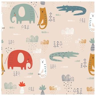 Patrón sin fisuras con safari animales tigre elefante y cocodrilo dibujado a mano
