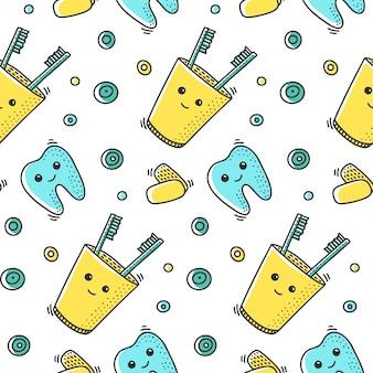 Patrón sin fisuras de salud dental en estilo doodle.
