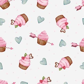 Patrón sin fisuras de san valentín con corazón, flecha y cupcakes.