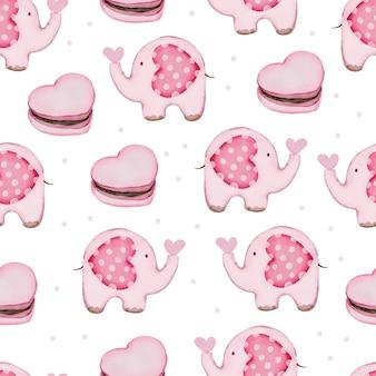 Patrón sin fisuras de san valentín con pastel, elefante.