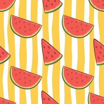 Patrón sin fisuras de sandía para el concepto de verano con estilo doodle