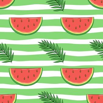 Patrón sin fisuras de sandía y hojas de palmera con estilo doodle color