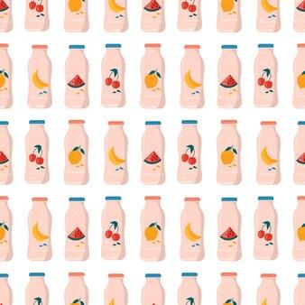 Patrón sin fisuras con sandía de verano, limón, plátano, jugo de cereza en botella con frutas y bayas.