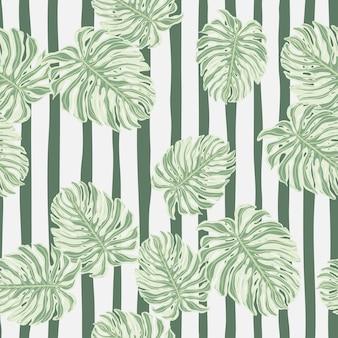 Patrón sin fisuras con siluetas de hojas de monstera al azar. papel tapiz de hojas exóticas de botánica.