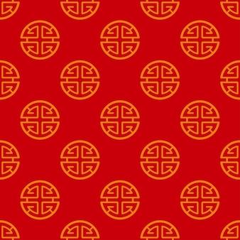 Patrón sin fisuras con el símbolo de la prosperidad tradicional china lu en rojo