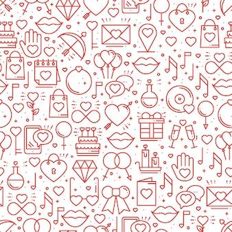 Patrón sin fisuras con símbolos de amor