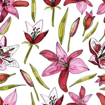Patrón sin fisuras sobre un fondo blanco de lirio floreciente delicado estampado floral abstracto