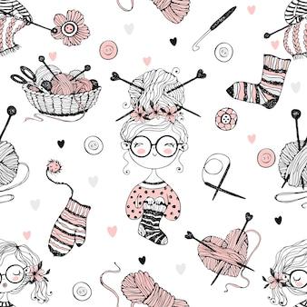 Patrón sin fisuras sobre el tema de tejer con chicas lindas tejedoras en estilo doodle.