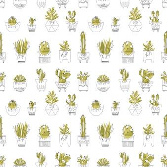 Patrón sin fisuras con suculentas y cactus con raíces en macetas.