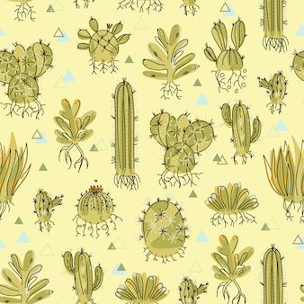 Patrón sin fisuras con suculentas y cactus con raíces.