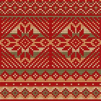 Patrón sin fisuras de suéter feo de navidad, fondo rojo