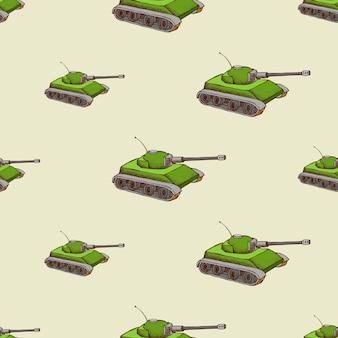 Patrón sin fisuras de tanque militar. fondo con transporte para el ejército,