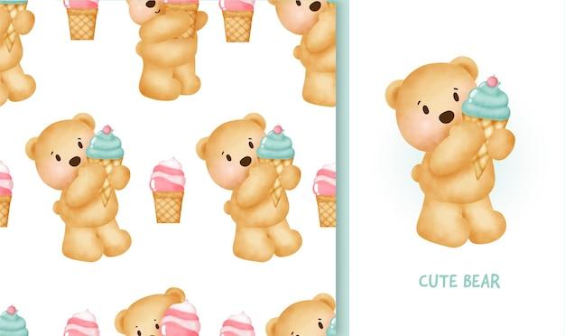 Patrón sin fisuras y tarjeta de felicitación de cumpleaños con lindo oso de peluche sosteniendo un helado.