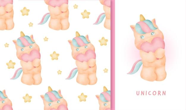 Patrón sin fisuras y tarjeta de felicitación con lindo unicornio.